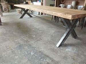 Table à Manger Industrielle Acier Et Bois : tres grande table de 3 5 m en bois recycle et metal industrielle metier usine ebay ~ Teatrodelosmanantiales.com Idées de Décoration