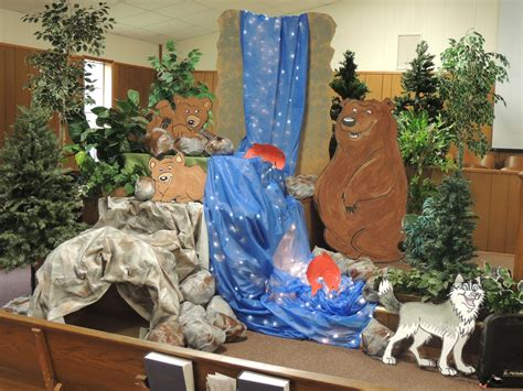 Decorating Ideas For Everest Vbs by Trees And Maybe A Painted Mountain In Background Would Be