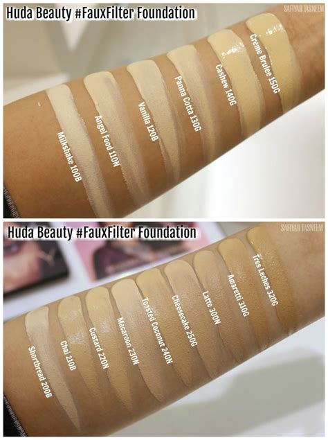safiyah tasneem sunday swatches foundation files huda beauty fauxfilter foundation review