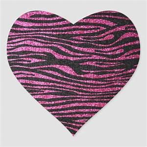 Pink and Black Zebra Print bling (faux glitter) Heart ...