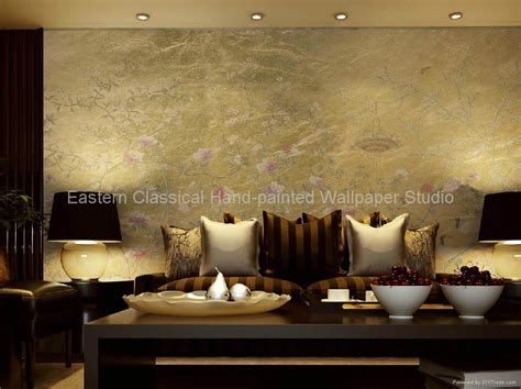 hand painted wallpaper silk wall coverings plum blossom