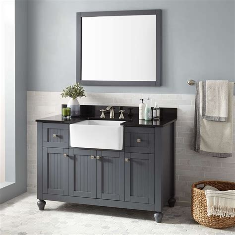 nellie farmhouse sink vanity dark gray bathroom