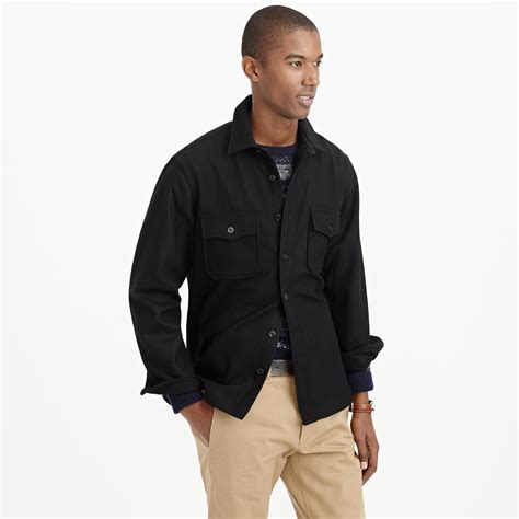wallace and barnes lyst j crew wallace barnes cpo jacket in black for