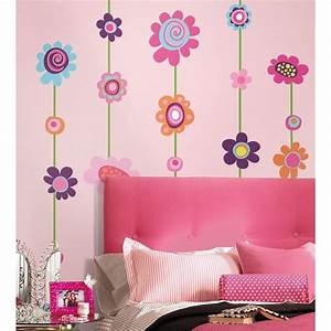 flower stripe giant wall decals big flowers stickers new With flower wall decals