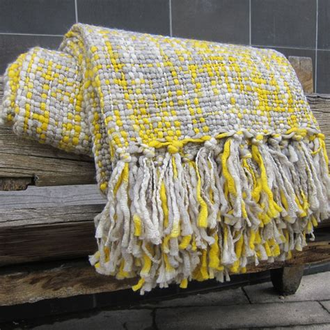 Buy Yellow & Grey Throw Blanket with Tassless at 20% off