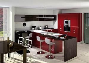 Modele De Cuisine Cuisinella : la cuisine rouge inspiration cuisine ~ Premium-room.com Idées de Décoration