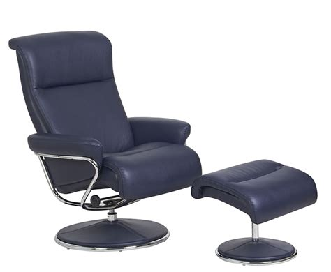 blue faux leather swivel chair and footstool
