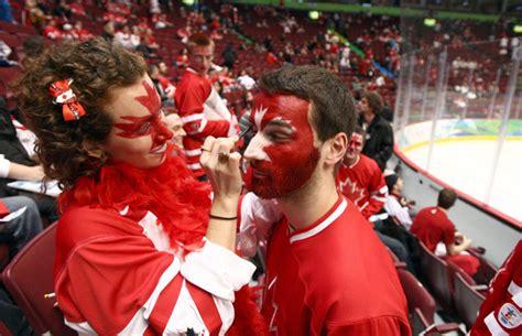 team canada fans  face paint  hockeygods