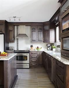 armoires de cuisine classiques en merisier quebec simard With armoire salle de bain noir