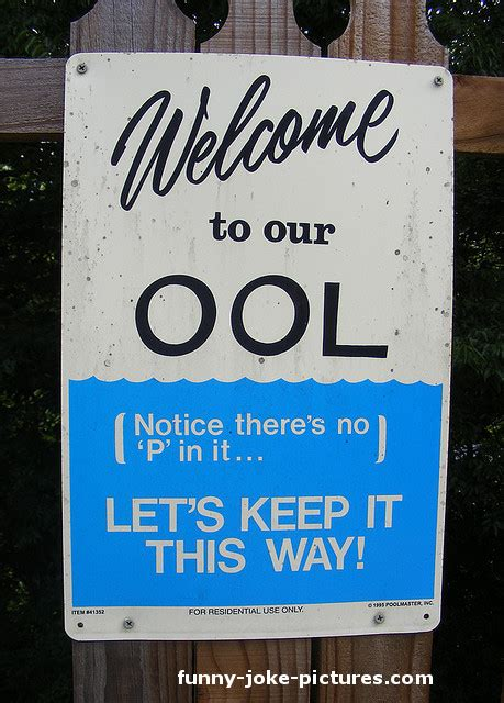 Swimming Pool Sign  Funny Joke Pictures