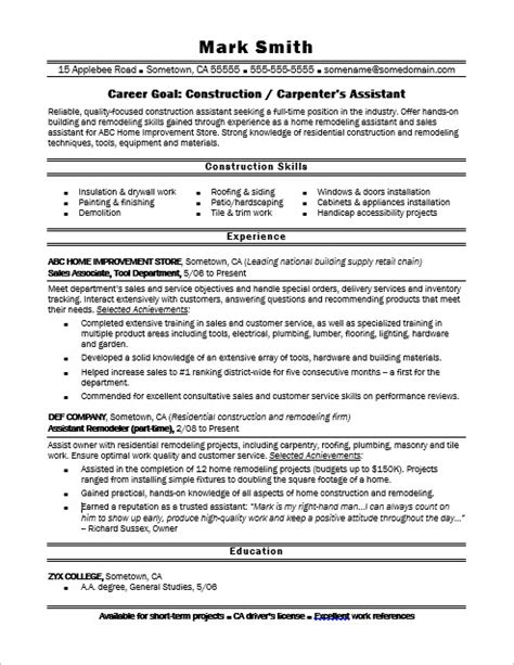 Construction Carpenter Resume Format by Construction Carpenter S Assistant Resume Sle