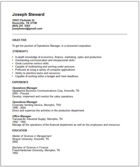 Generic Resume Template Exles by Finance Resume Exles