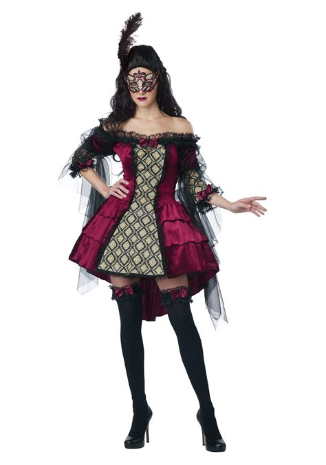 Womens Plus Size Mysterious Masquerade Costume