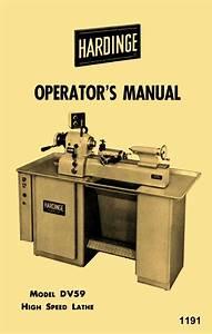Hardinge Older Dv59 Metal Lathe Operator U0026 39 S Manual
