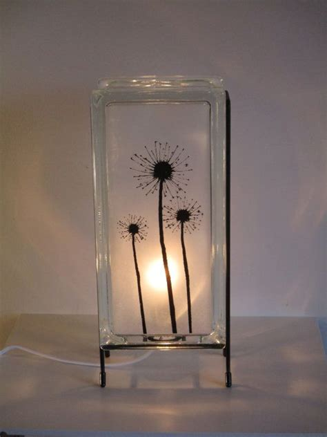 dandelion lamp  shipping upcycled handmade glass block