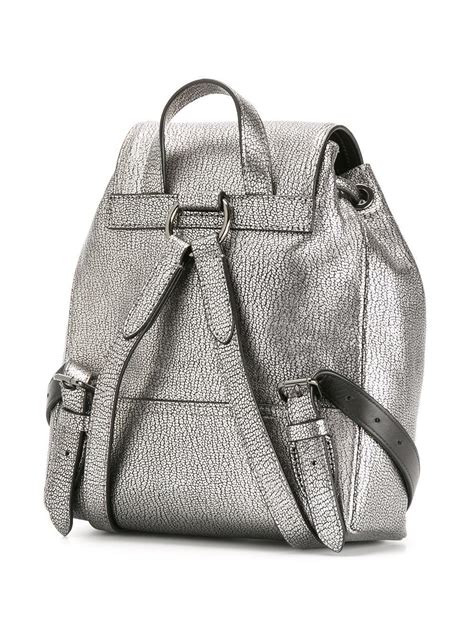 COACH Leather Metallic Drawstring Backpack in Black - Lyst