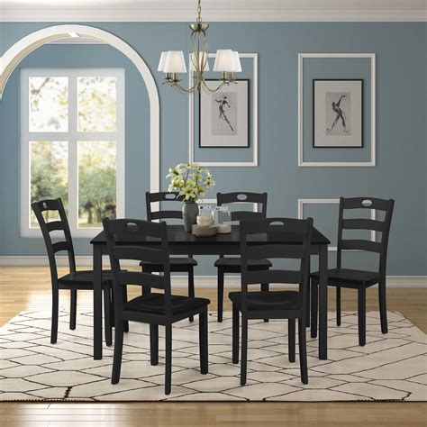 black dining table set   modern  piece dining room
