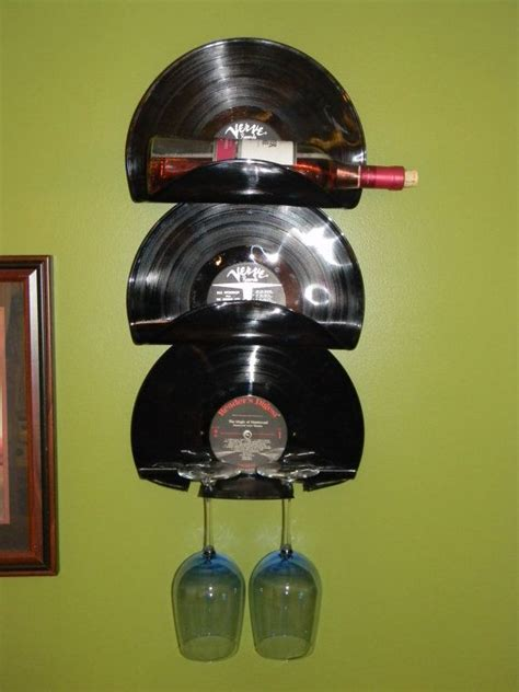 wall mounted vinyl record wine rack  wine glass holder