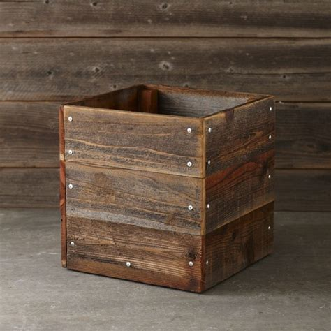 reclaimed square planter rustic outdoor pots