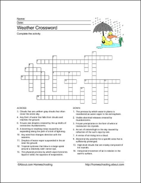 weather crossword puzzle worksheets puzzles printable child basic activities terms word science teach chance history calendar geography education printables nology