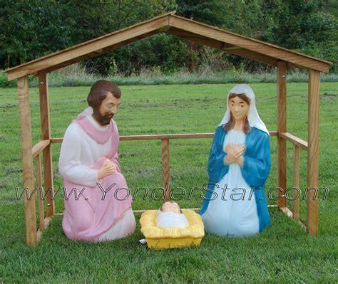 lighted outdoor nativity scene  stable christmas