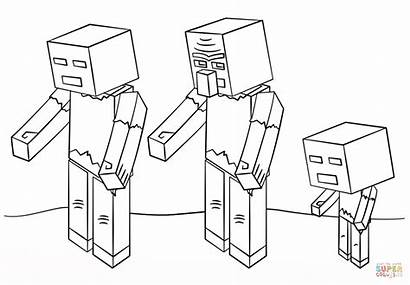 Minecraft Coloring Kolorowanki Zombies Druku