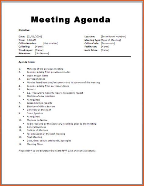 7+ Agenda Formats Bookletemplateorg