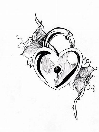 Heart Lock Key Drawing Tattoo Tattoos Locks