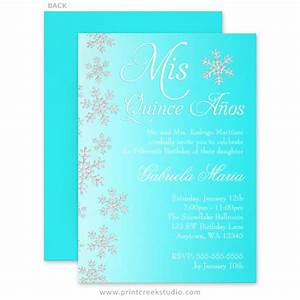 fancy teal snowflake winter wonderland quinceanera With fancy winter wedding invitations