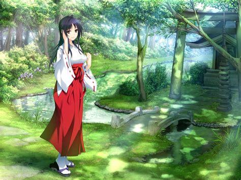 anime girls kimono nature wallpapers hd desktop