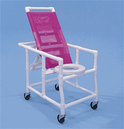 healthline pvc reclining shower chair commode rsc500w5