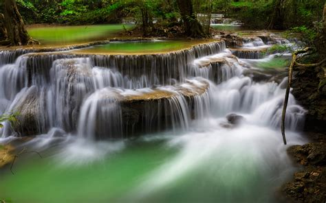 deep forest waterfall kanchanaburi thailand ultra hd