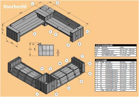 hoekbank steigerhout zelf maken tekening steigerhouten loungebank bouwtekening en voorbeelden