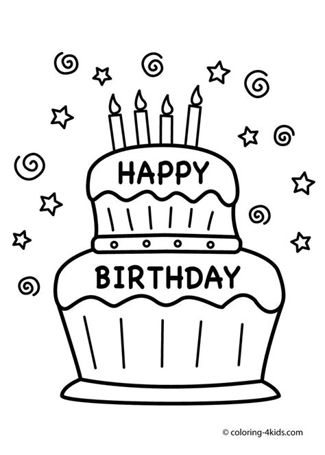 cake happy birthday party coloring pages nice coloring