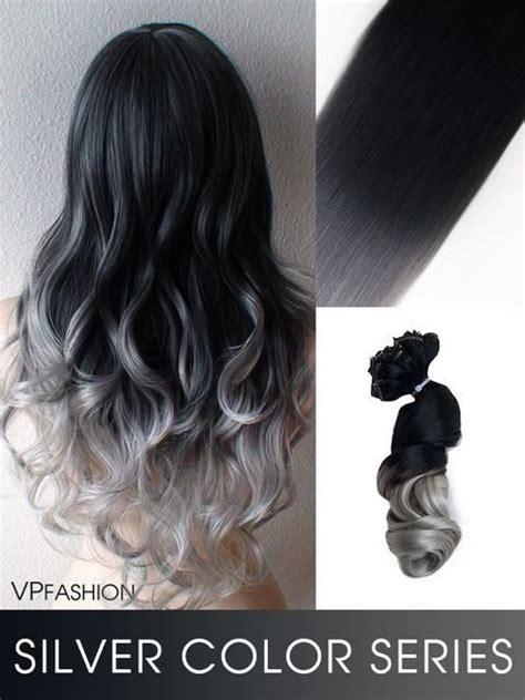 haarfarbe schwarz grau schwarz grau ombre echthaar extensions c005 hair and