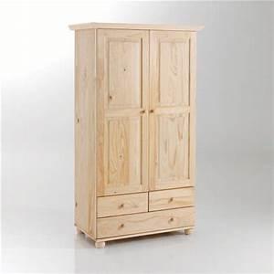 Armoire Penderie Enfant : armoire pin massif 2 portes penderie 3 tiroirs harold ~ Teatrodelosmanantiales.com Idées de Décoration