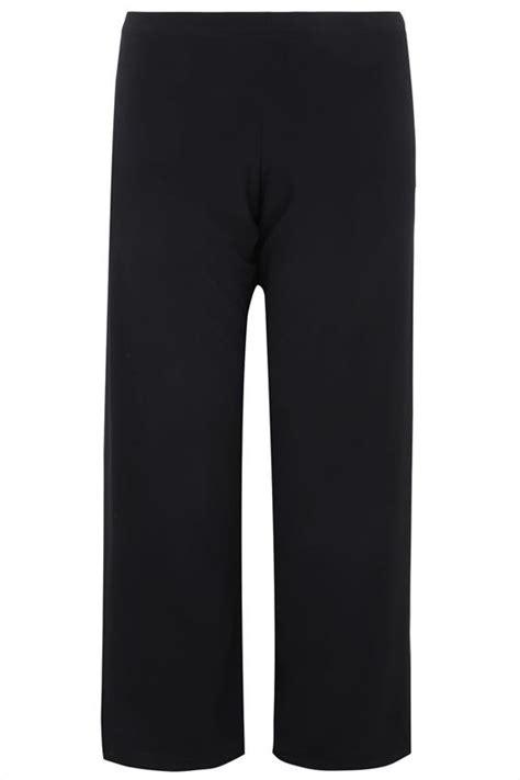 Black Pull On Wide Leg Trousers Plus