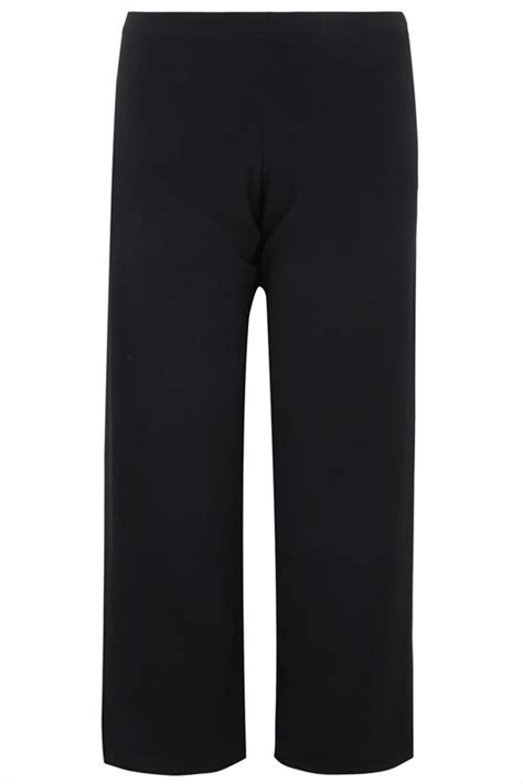 black pull  wide leg trousers  size