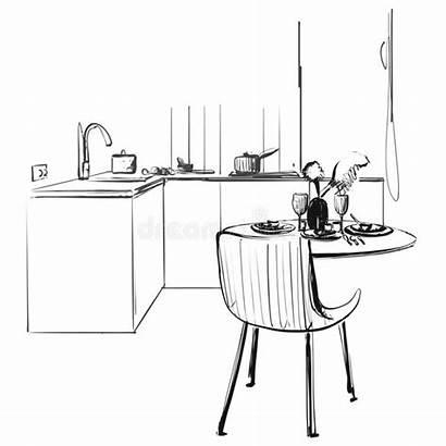 Table Drawing Kitchen Interior Sketch Dinner Illustration