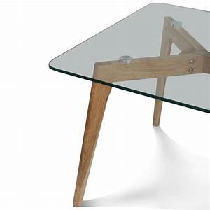Table Plateau Bois : table basse plateau verre pied bois id es de d coration int rieure french decor ~ Teatrodelosmanantiales.com Idées de Décoration