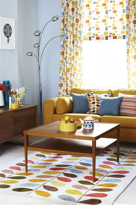 midcentury orla kiely mid century modern living room
