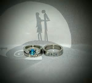 nightmare before wedding rings nightmare before tim burton inspired couples set sally and rings blue topaz cz