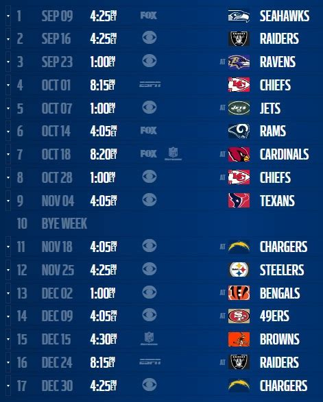 denver broncos  schedule regular season games