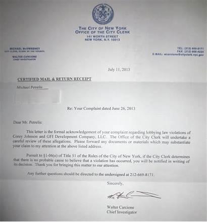 Certified Letter Clerk Complaint Corey Johnson York