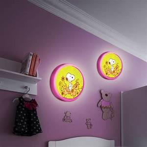 Luminaire Mural Chambre : applique chambre enfants luminaire mural rond snoopy good night fleurs rose vert lampes ~ Teatrodelosmanantiales.com Idées de Décoration