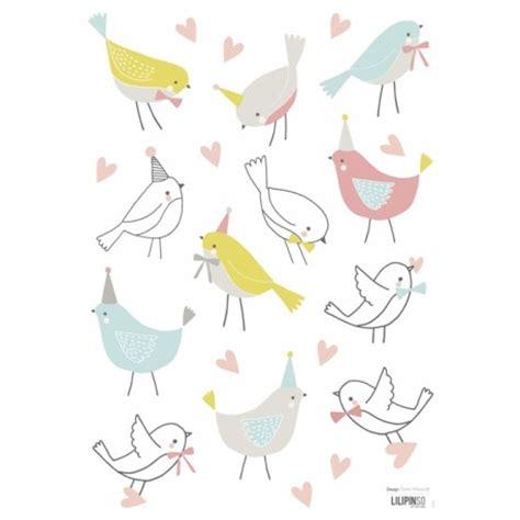 papier peint pour chambre bebe fille sticker oiseaux doux pour chambre bébé et enfant lilipinso