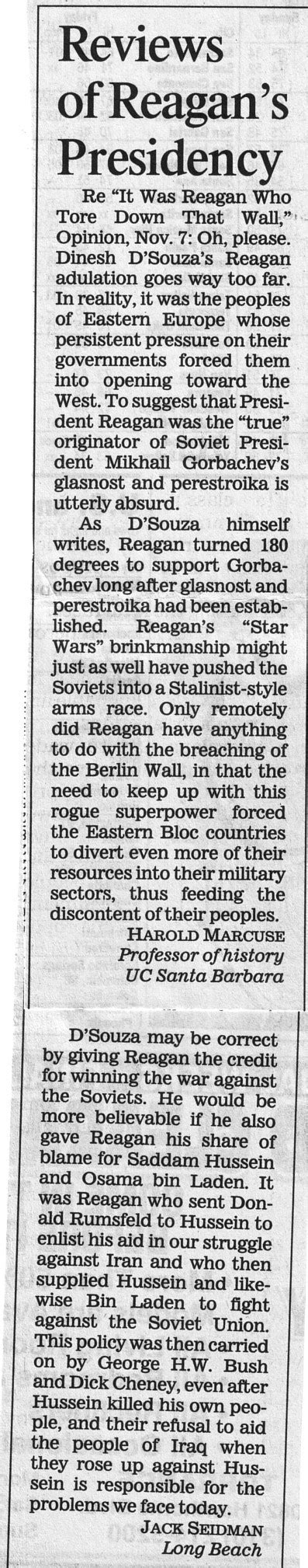 la times  dsouza reagan tore  berlin wall
