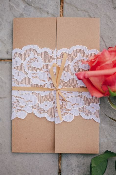 brown wedding invitation with lace wrap in 2019 engaged