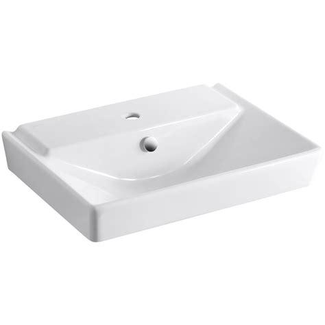 kohler reve wall mounted ceramic bathroom sink in white