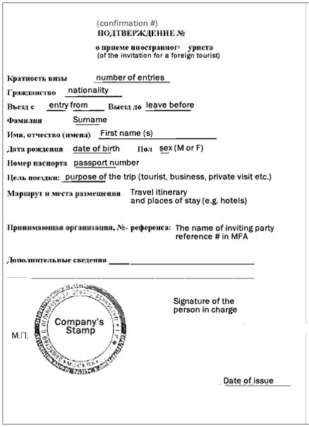 Russian Invitation Letter For Visa - Tourist or Business